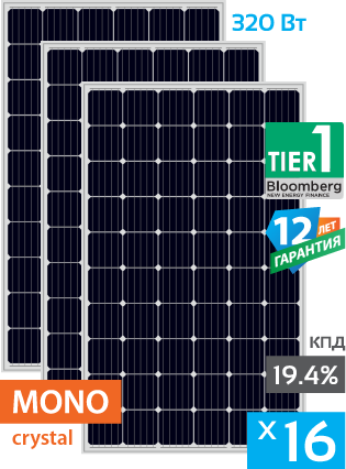 солнечные монокристаллические панели 16 штук