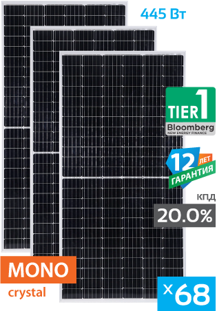 солнечные монокристаллические панели 68 штук