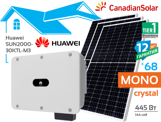 Сонячна електростанція Huawei 30 кВт